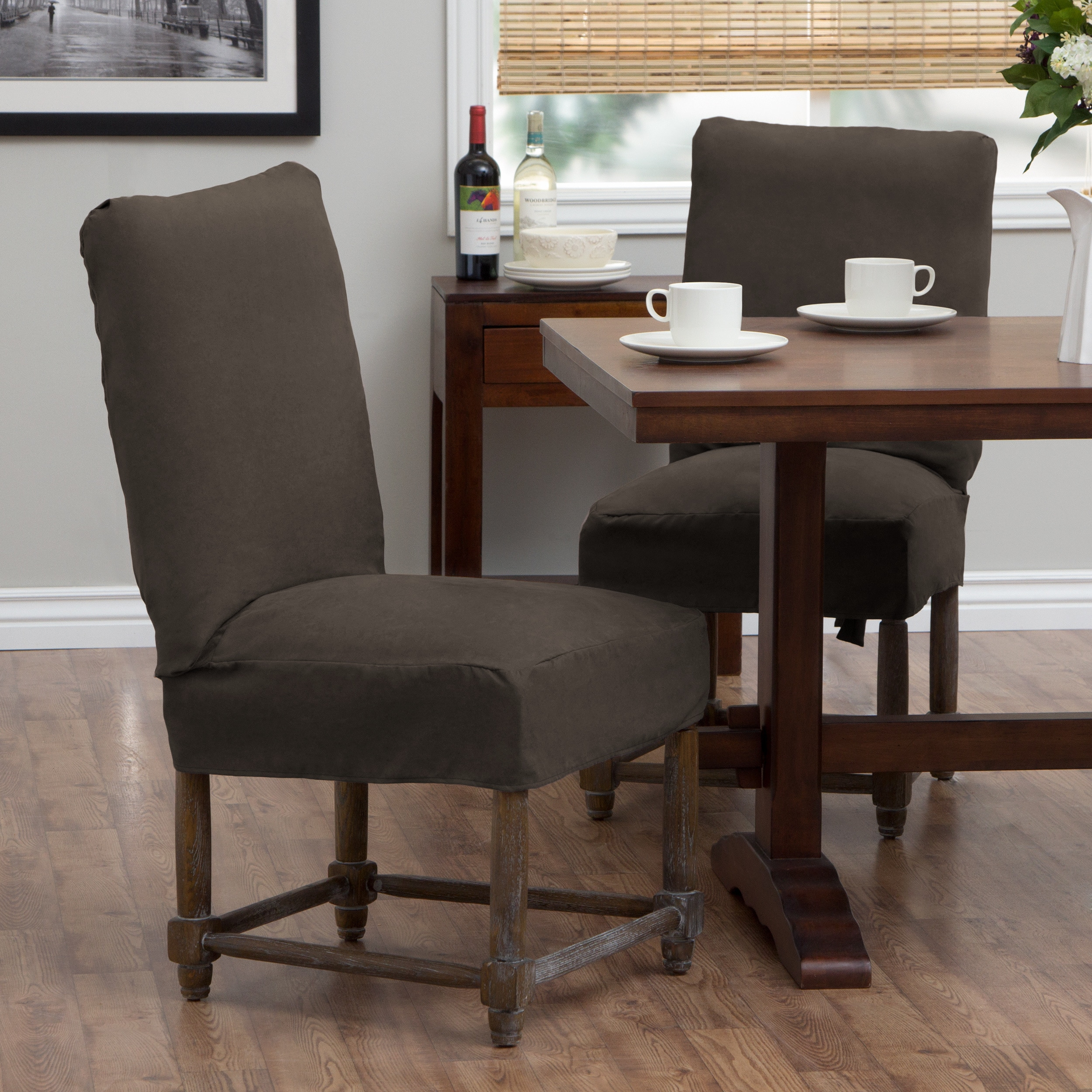 Dining Chair Slipcover Tailor Fit Relaxed Fit Smooth Suede Short Dining Chair Slipcover Set Of 2