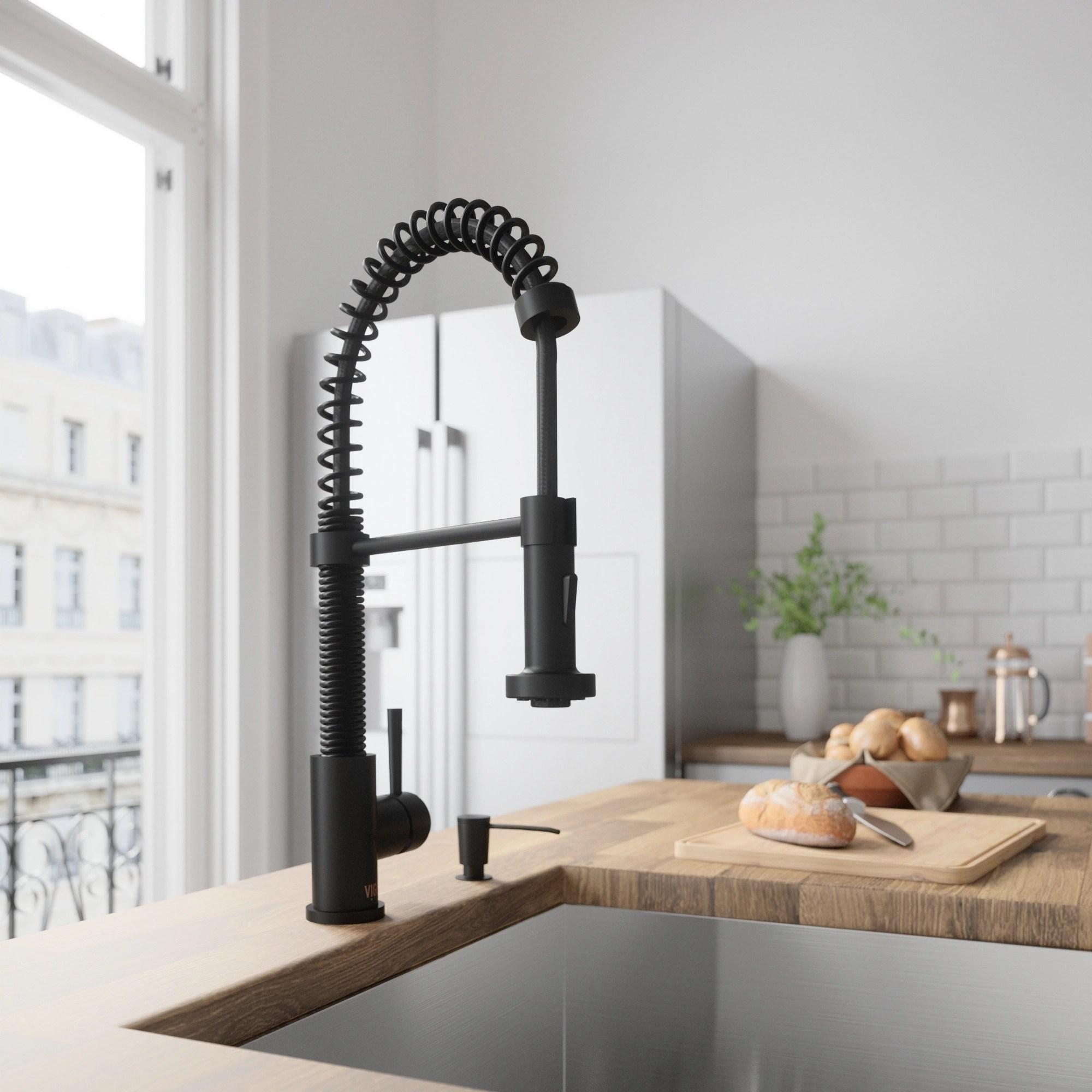 kitchen faucet black portable island shop vigo edison matte pull down spray on