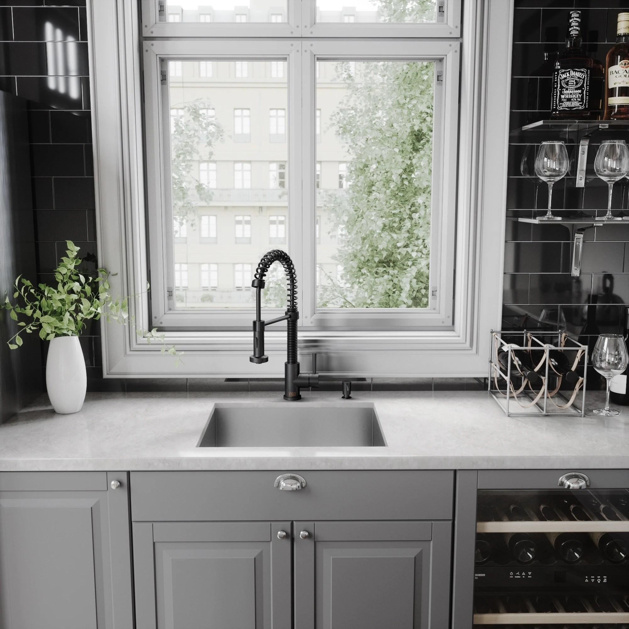 black faucet kitchen cabinet storage shop vigo edison matte pull down spray on sale free shipping today overstock com 9753375
