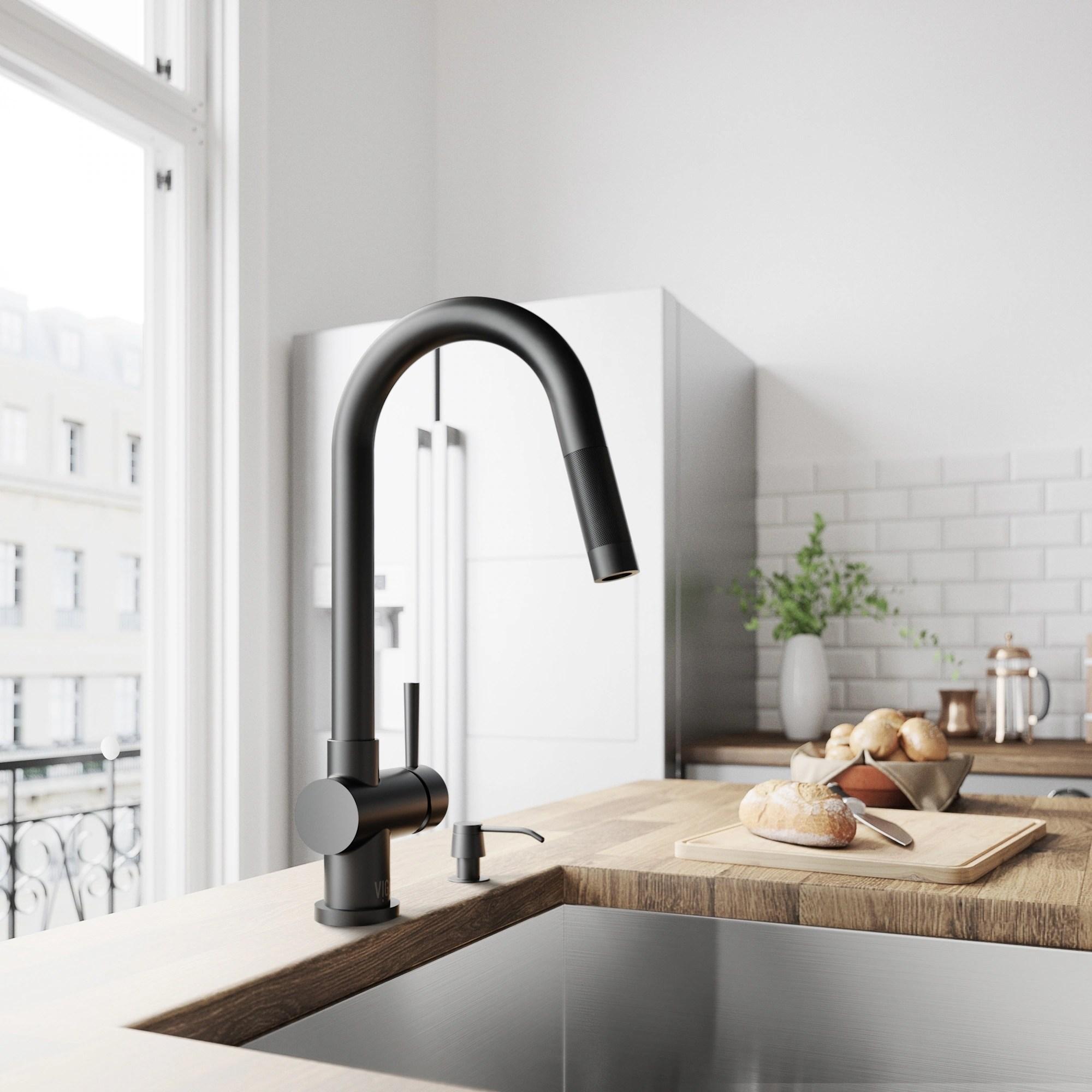 kitchen faucet black exhaust vent cover shop vigo gramercy matte pull down on sale