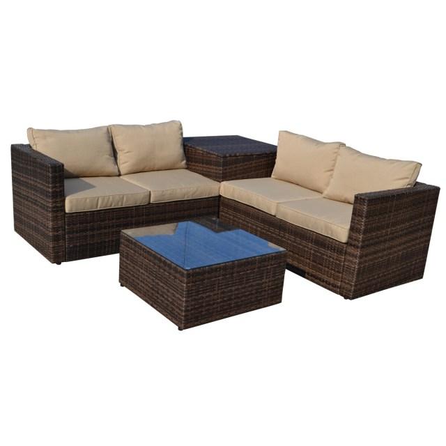 shop the-hom ventana 4-piece outdoor wicker lounge set - free