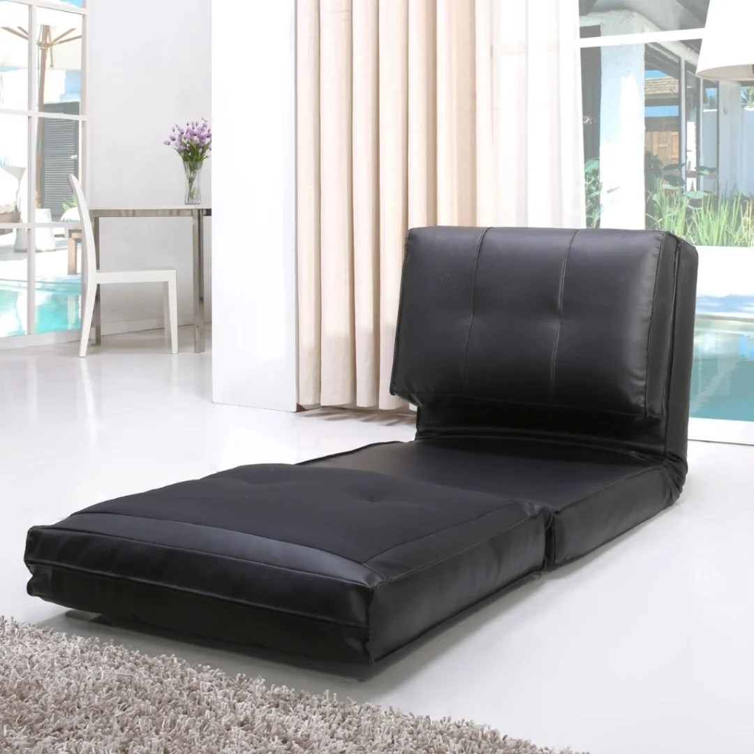 single sleeper chair tall desk chairs shop abbyson jackson black leather on sale free shipping today overstock com 9922989