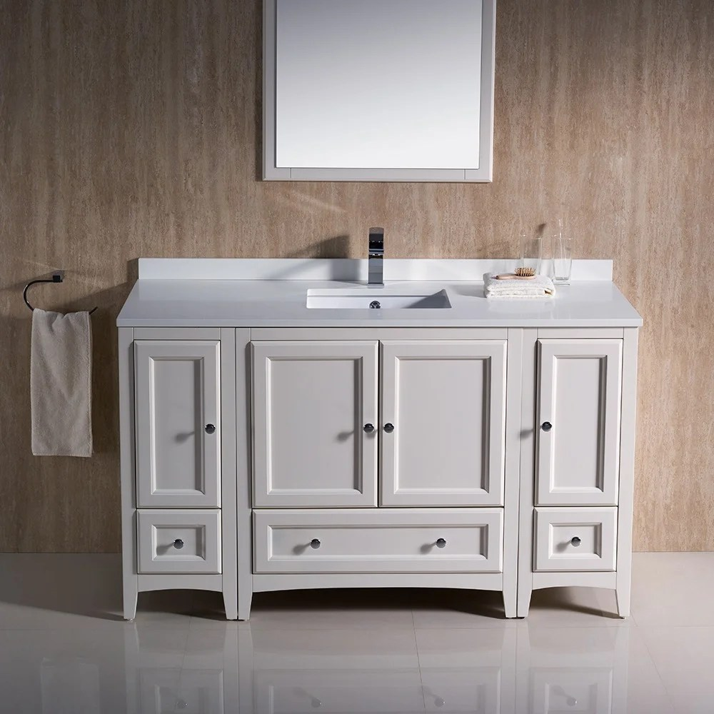 54 Bathroom Vanity Fresca Oxford 54 Inch Antique White Traditional Bathroom Vanity With 2 Side Cabinets