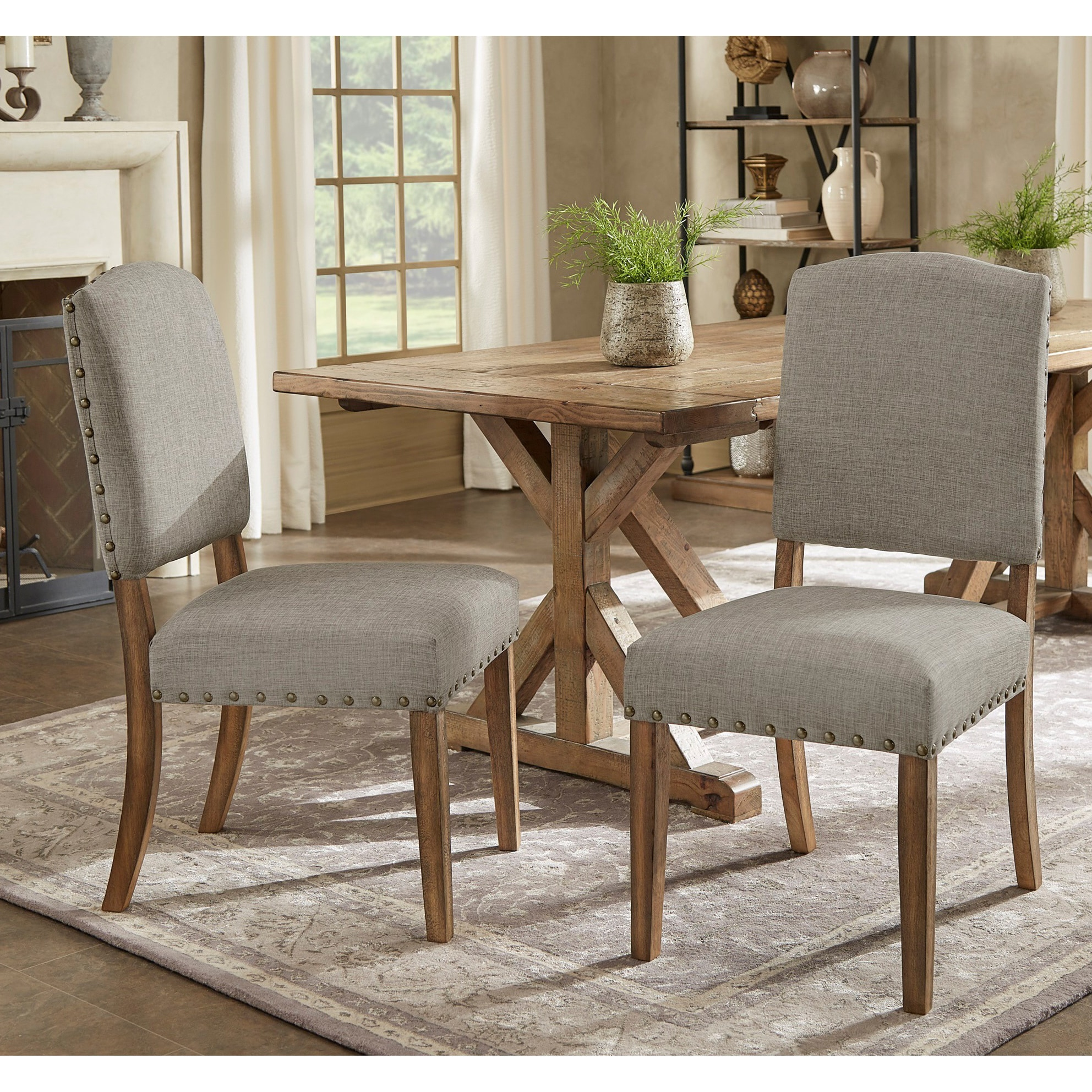 Dining Room Upholstered Chairs Benchwright Premium Nailhead Upholstered Dining Chairs Set Of 2 By Inspire Q Artisan