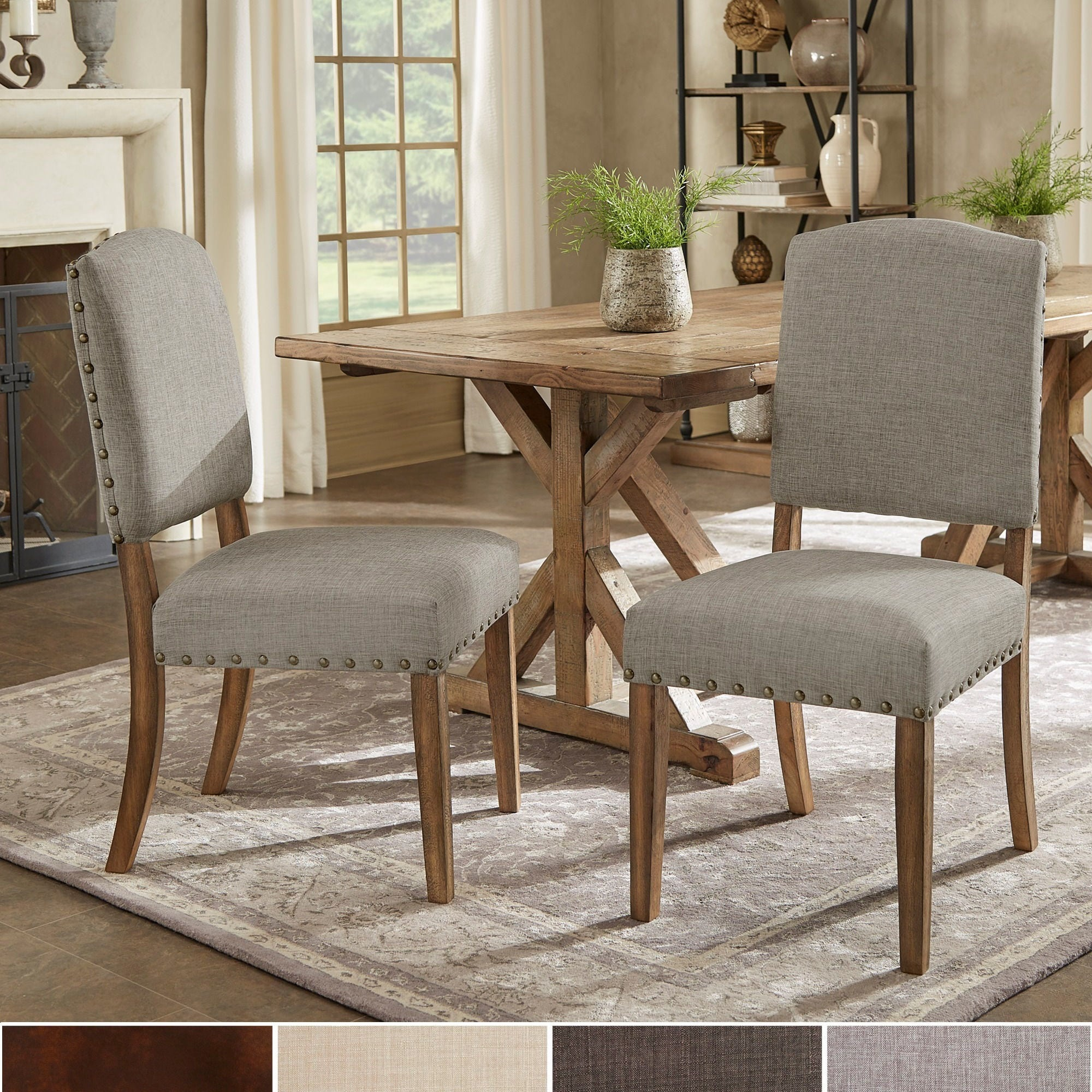 nailhead upholstered dining chair carolina and table bar stools shop benchwright premium chairs set of 2 by inspire q artisan