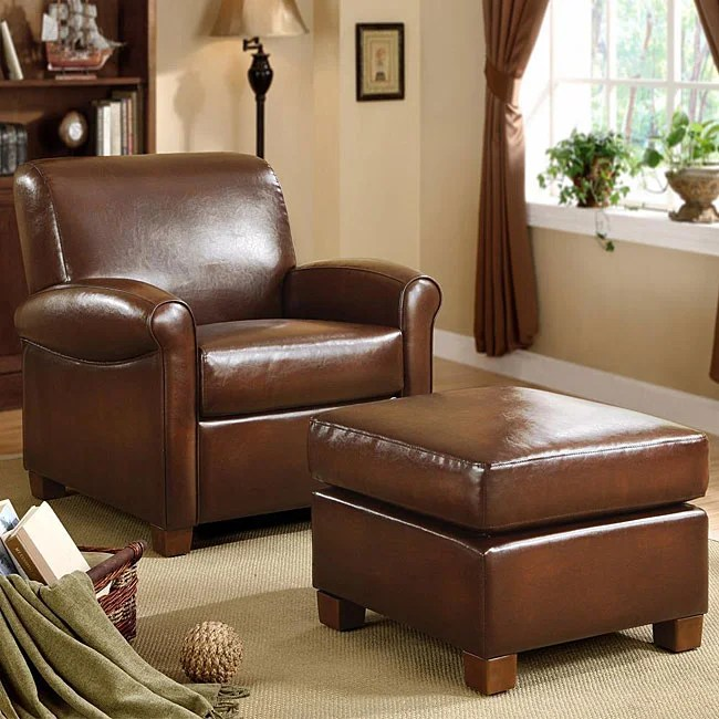 leather chair ottoman set folding gif imgur shop metropolitan faux brown and free shipping today overstock com 4154919