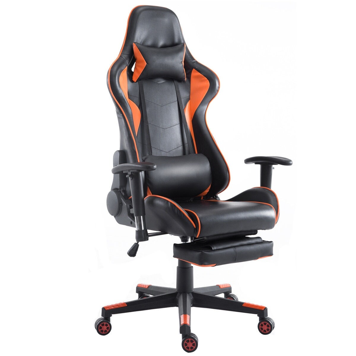 reclining gaming chair hancock and moore chairs shop costway high back racing recliner office w lumbar support footrest orange black