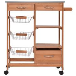 Kitchen Cart With Drawers Childrens Kitchens Shop Costway Bamboo Rolling Island Trolley Storage Shelf As Pic Free Shipping Today Overstock Com 18522209