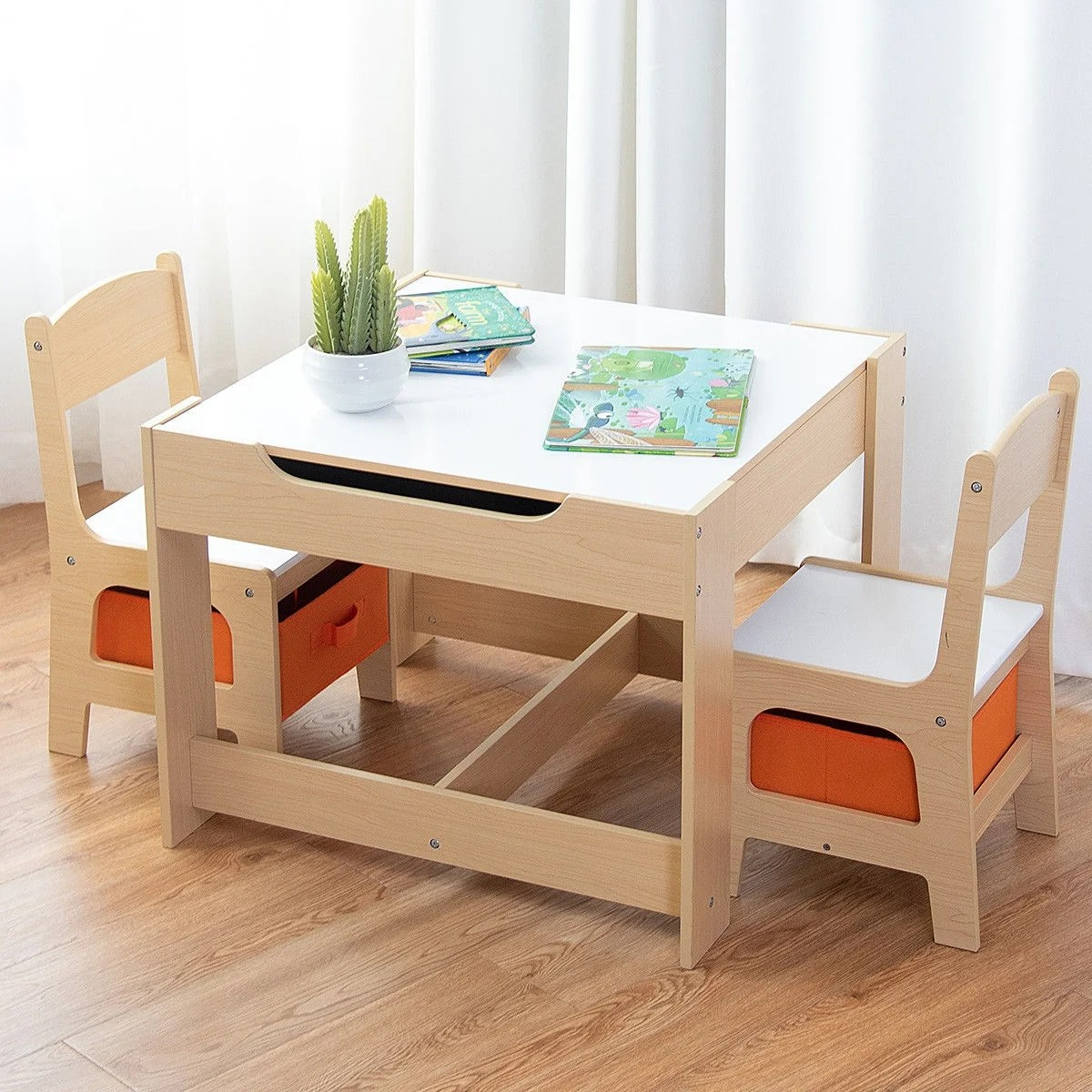 Table With Chairs Gymax Children Kids Table Chairs Set With Storage Boxes Blackboard Whiteboard Drawing