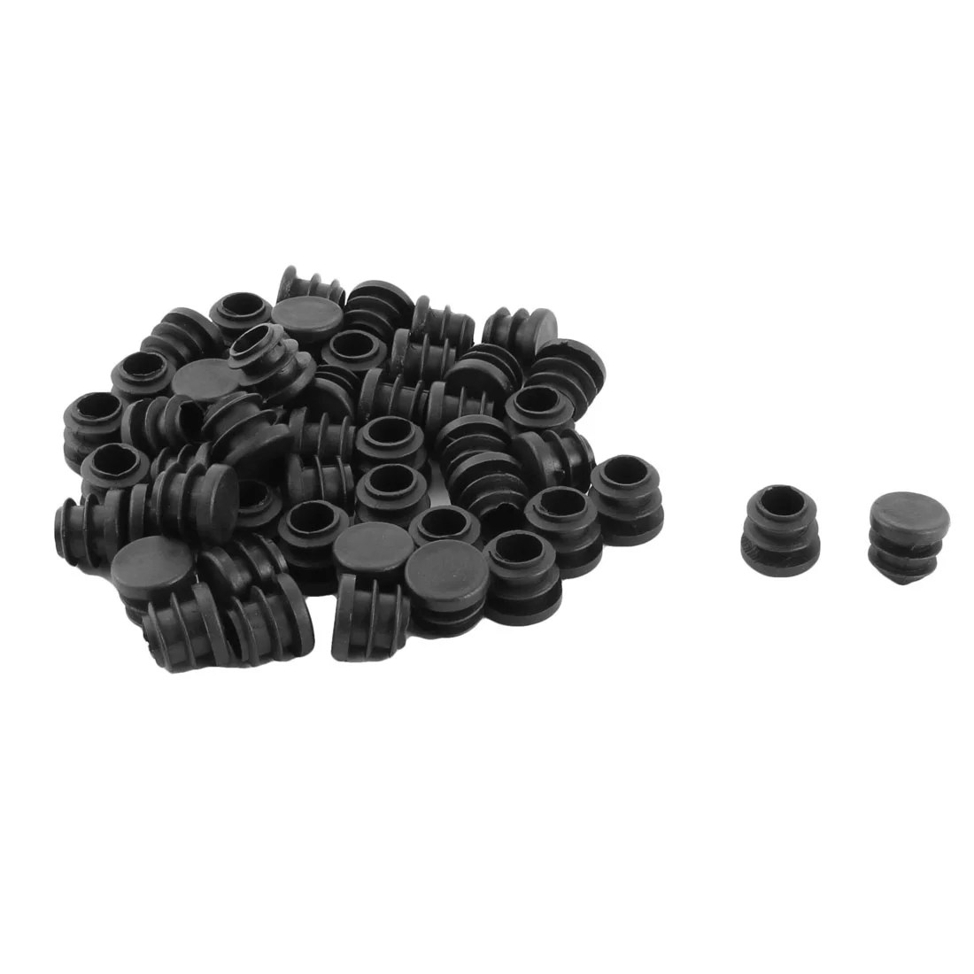 Caps For Chair Legs Plastic Round Flat Type Table Chair Leg Caps Tube Insert Black 16mm Dia 50pcs