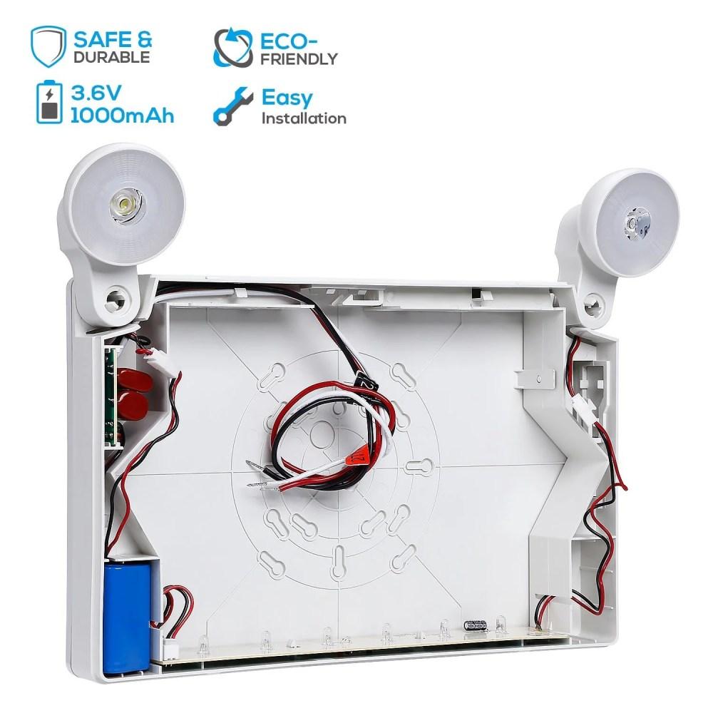 medium resolution of shop red led exit sign emergency light ac 120v 277v battery included