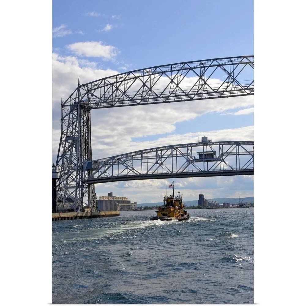 medium resolution of aerial lift bridge in downtown area of duluth minnesota multi color