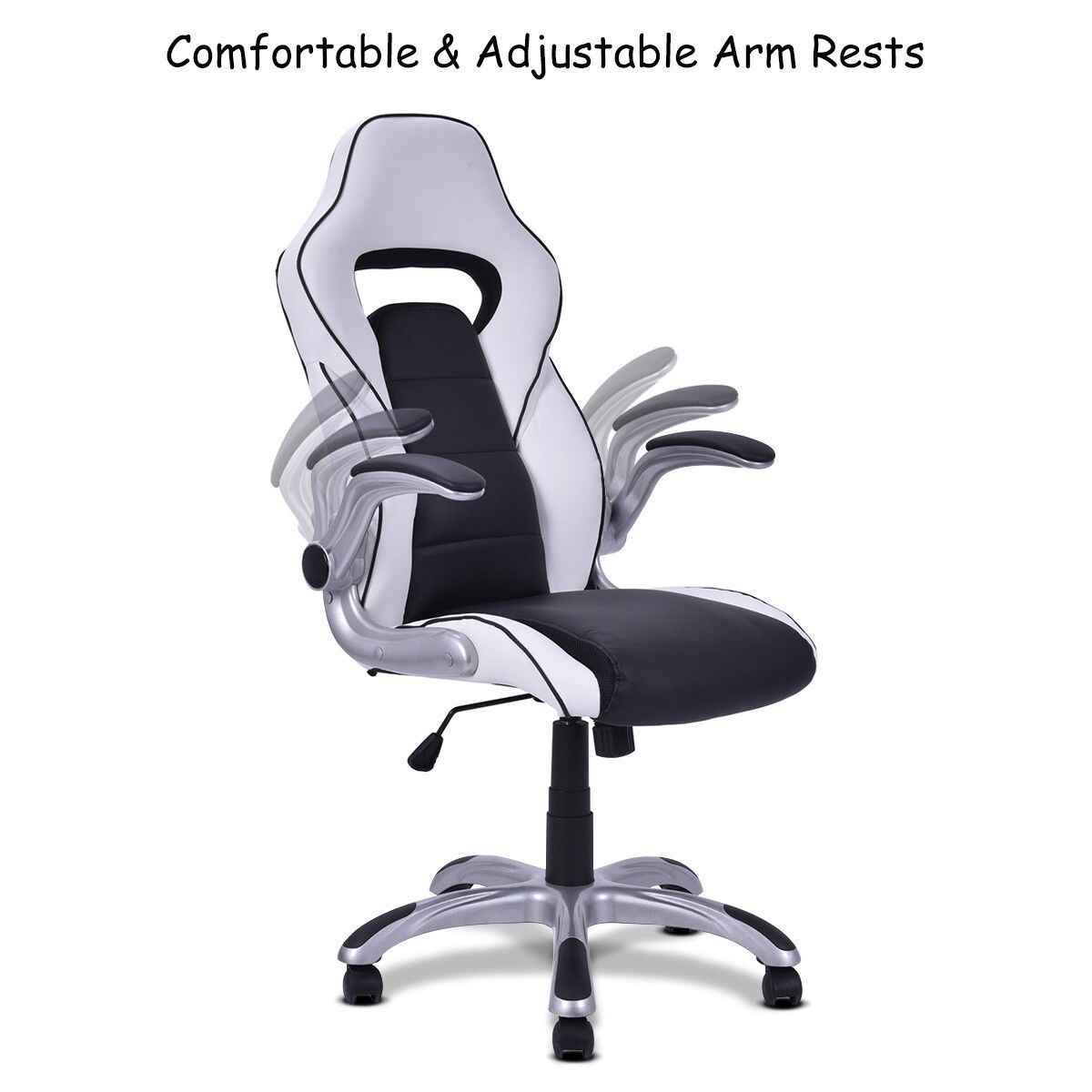 comfortable office chairs for gaming retro metal garden shop costway high back executive racing style chair adjustable armrest black white free shipping today overstock com 17056591