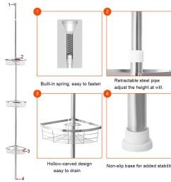 shop gymax 3 tier corner shower caddy stainless steel adjustable bathroom storage shelf ships to canada overstock 25628641 [ 1200 x 1200 Pixel ]