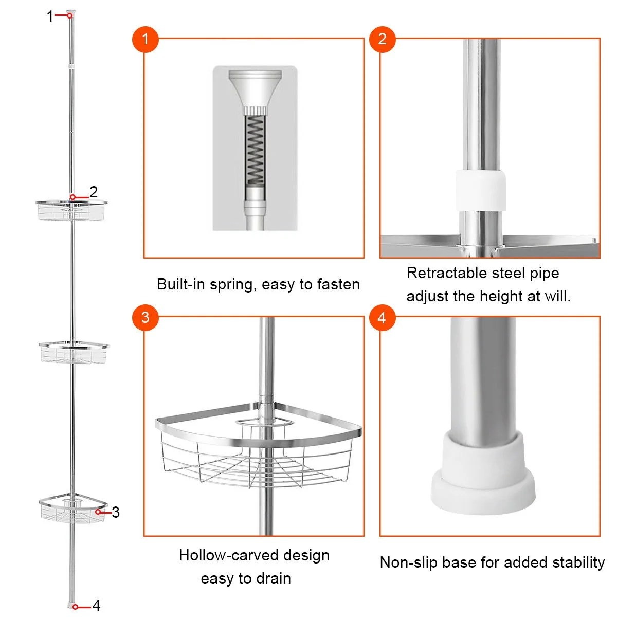 hight resolution of shop gymax 3 tier corner shower caddy stainless steel adjustable bathroom storage shelf ships to canada overstock 25628641