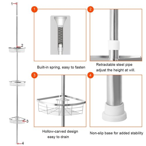 small resolution of shop gymax 3 tier corner shower caddy stainless steel adjustable bathroom storage shelf ships to canada overstock 25628641