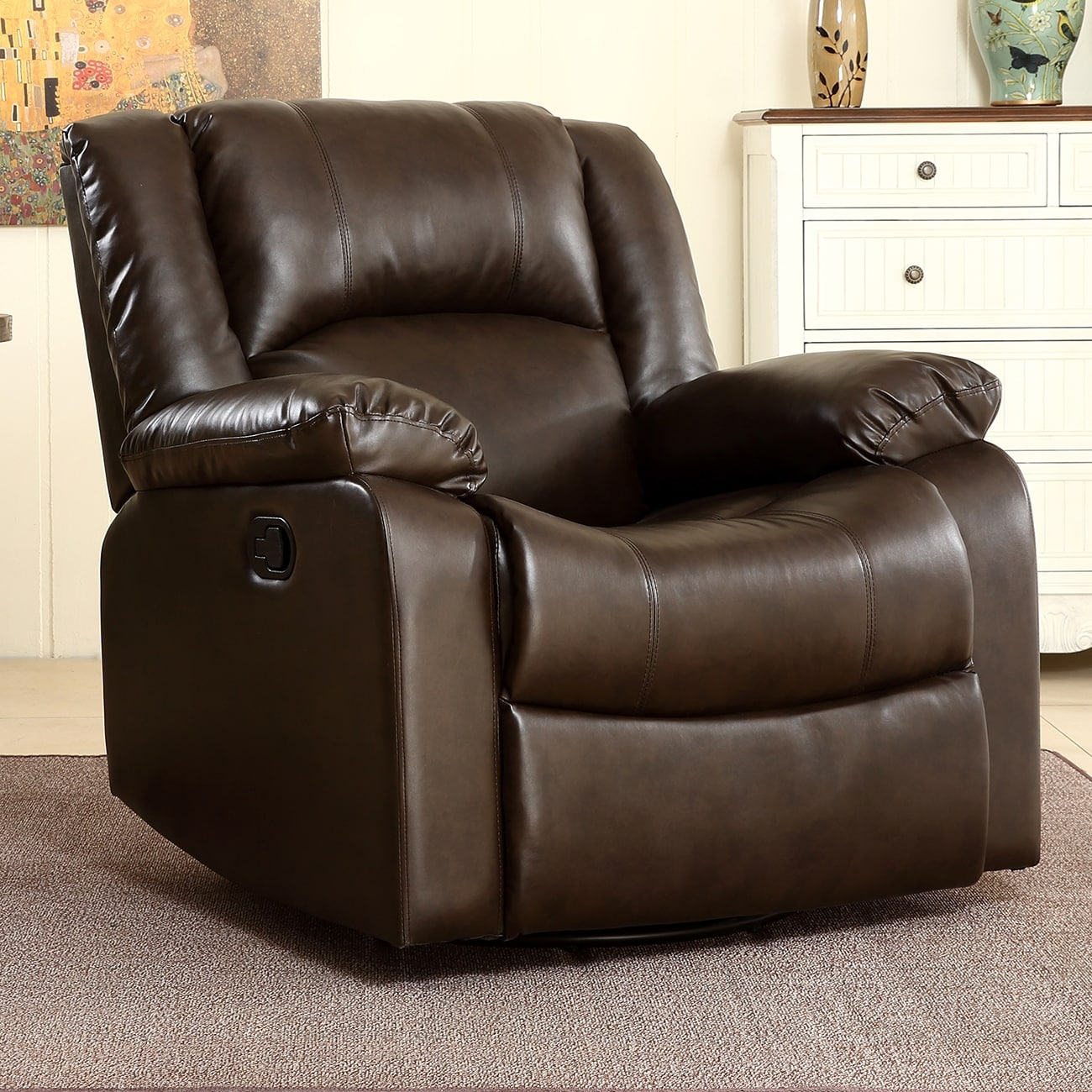 Swivel Rocker Recliner Chair Belleze Rocker And Swivel Glider Recliner Chair Faux Leather For Living Room