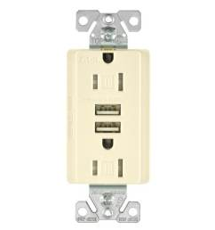 shop cooper wiring tr7755la k combination usb charger with tr duplex receptacle light almond free shipping on orders over 45 overstock 28440890 [ 1008 x 1008 Pixel ]