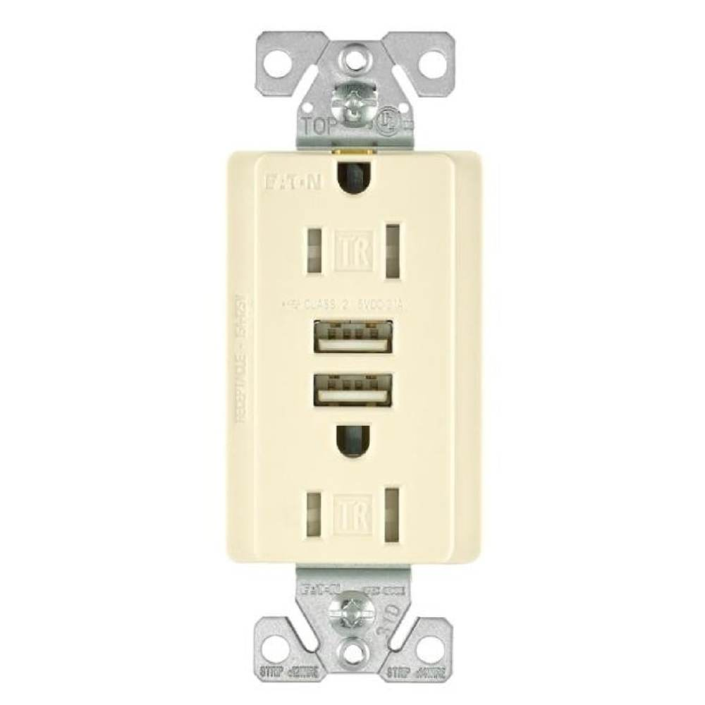 medium resolution of shop cooper wiring tr7755la k combination usb charger with tr duplex receptacle light almond free shipping on orders over 45 overstock 28440890