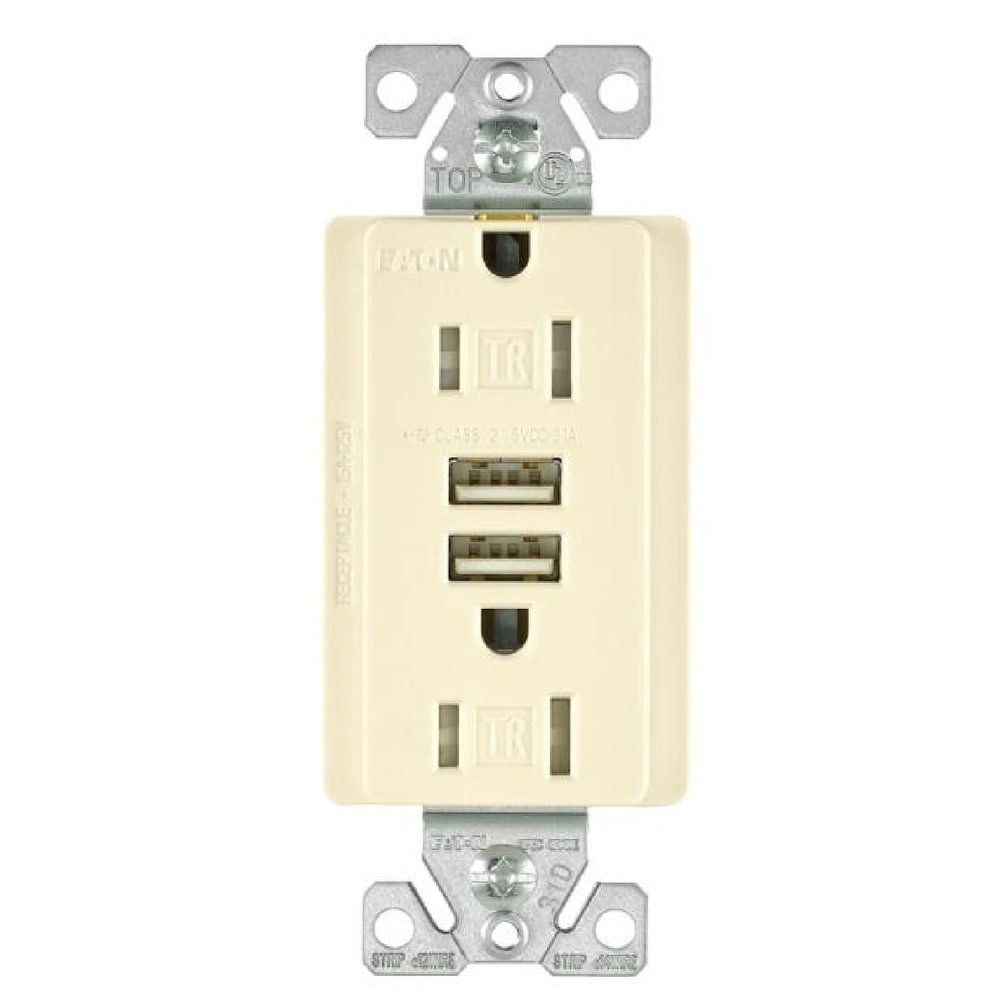 hight resolution of shop cooper wiring tr7755la k combination usb charger with tr duplex receptacle light almond free shipping on orders over 45 overstock 28440890