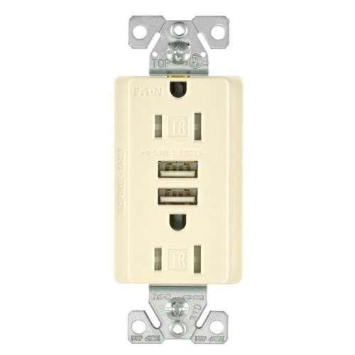 small resolution of shop cooper wiring tr7755la k combination usb charger with tr duplex receptacle light almond free shipping on orders over 45 overstock 28440890