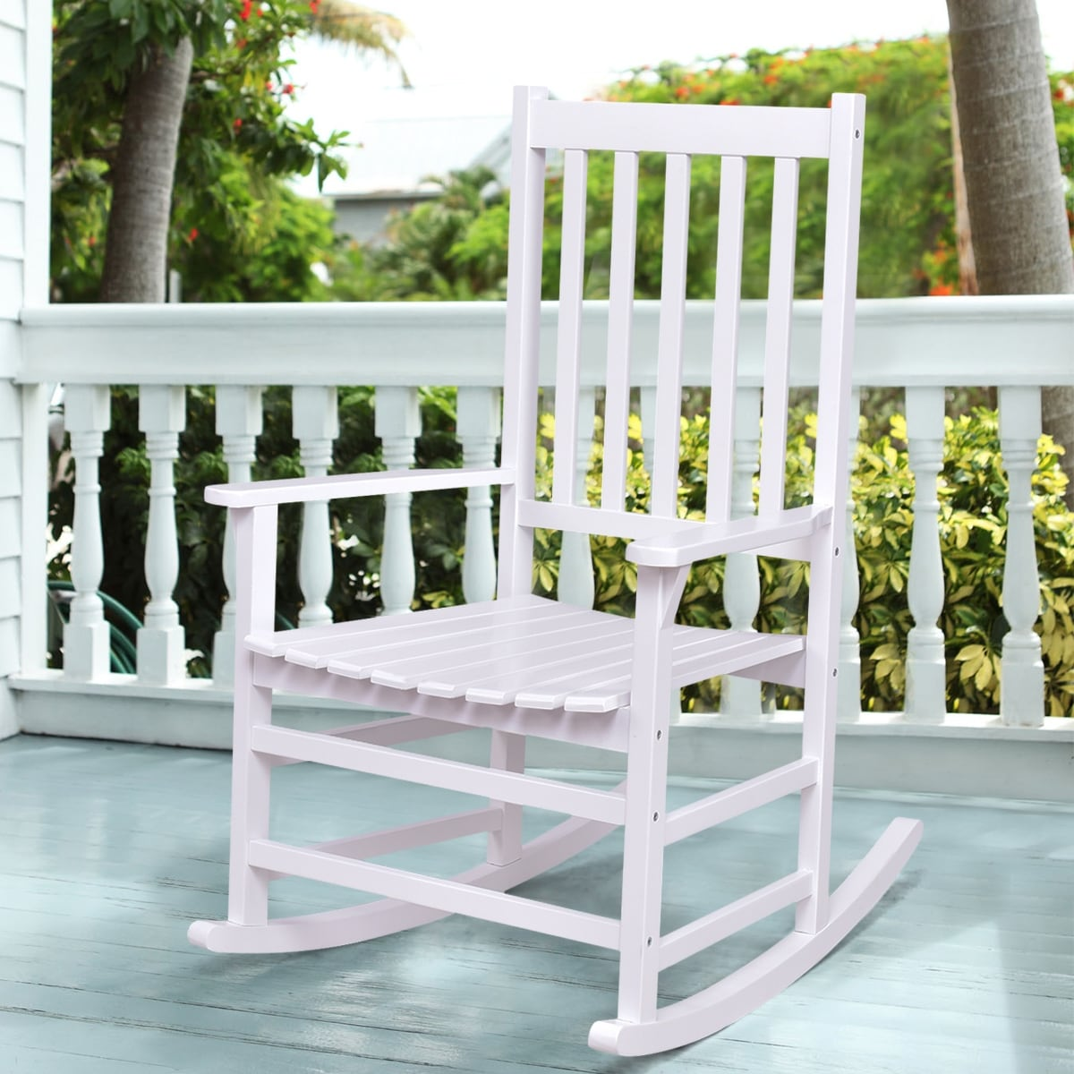 white wood rocking chair adirondack chairs shop costway solid rocker porch indoor outdoor patio furniture single