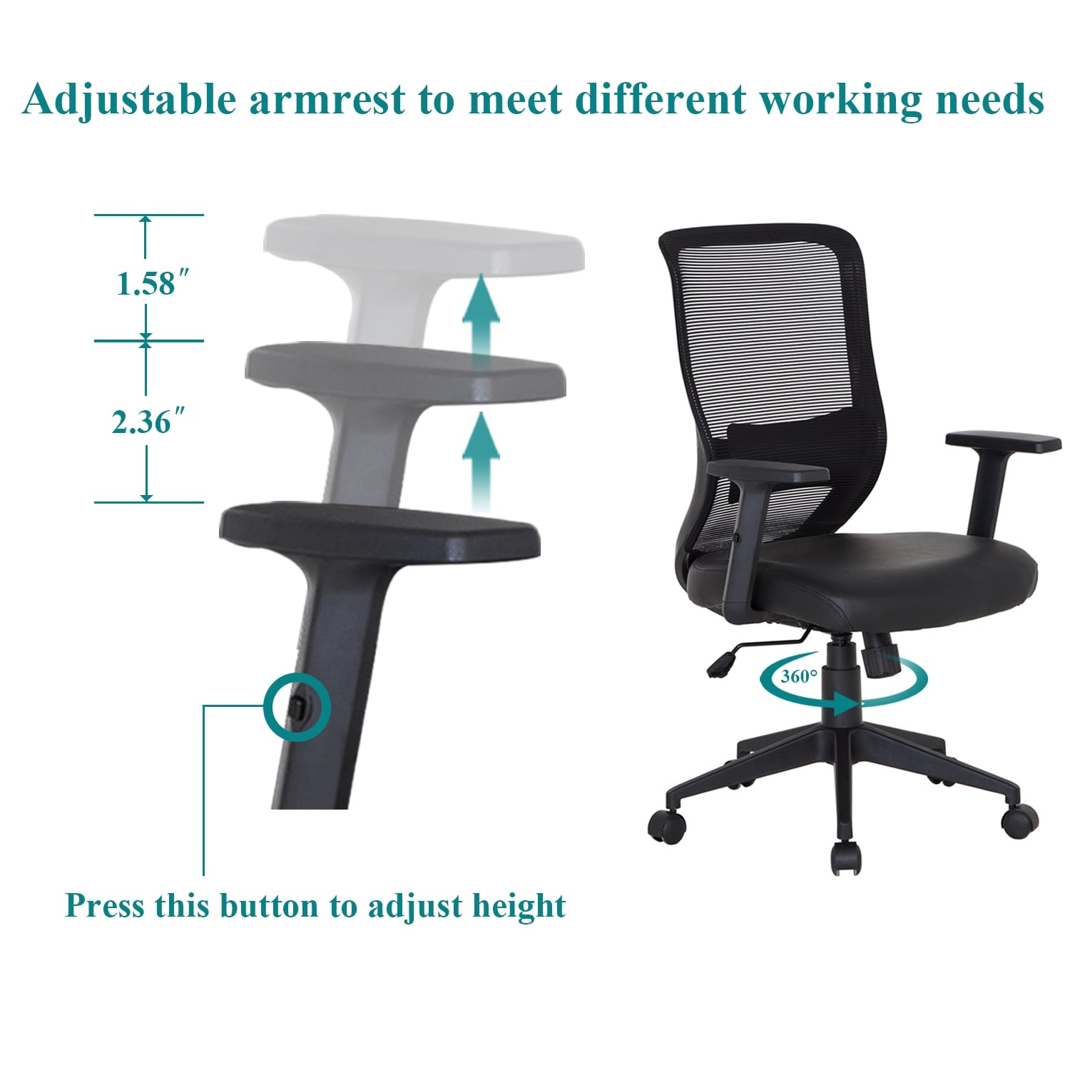 How To Adjust Office Chair Office Chair Pu Surface Cushion Adjustable Swivel Mesh Desk Chairs