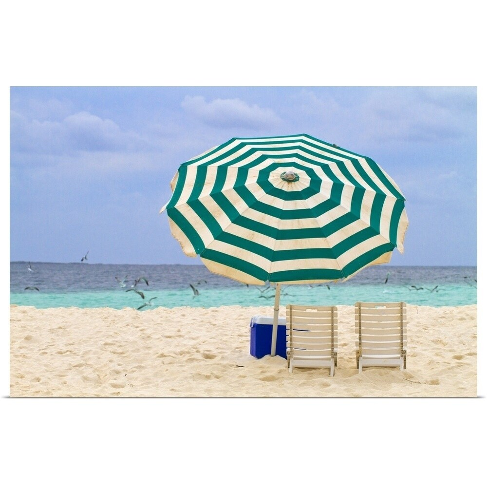Beach Chairs With Umbrella Poster Print Entitled Beach Chairs And Umbrella Madrisque Island Multi Color