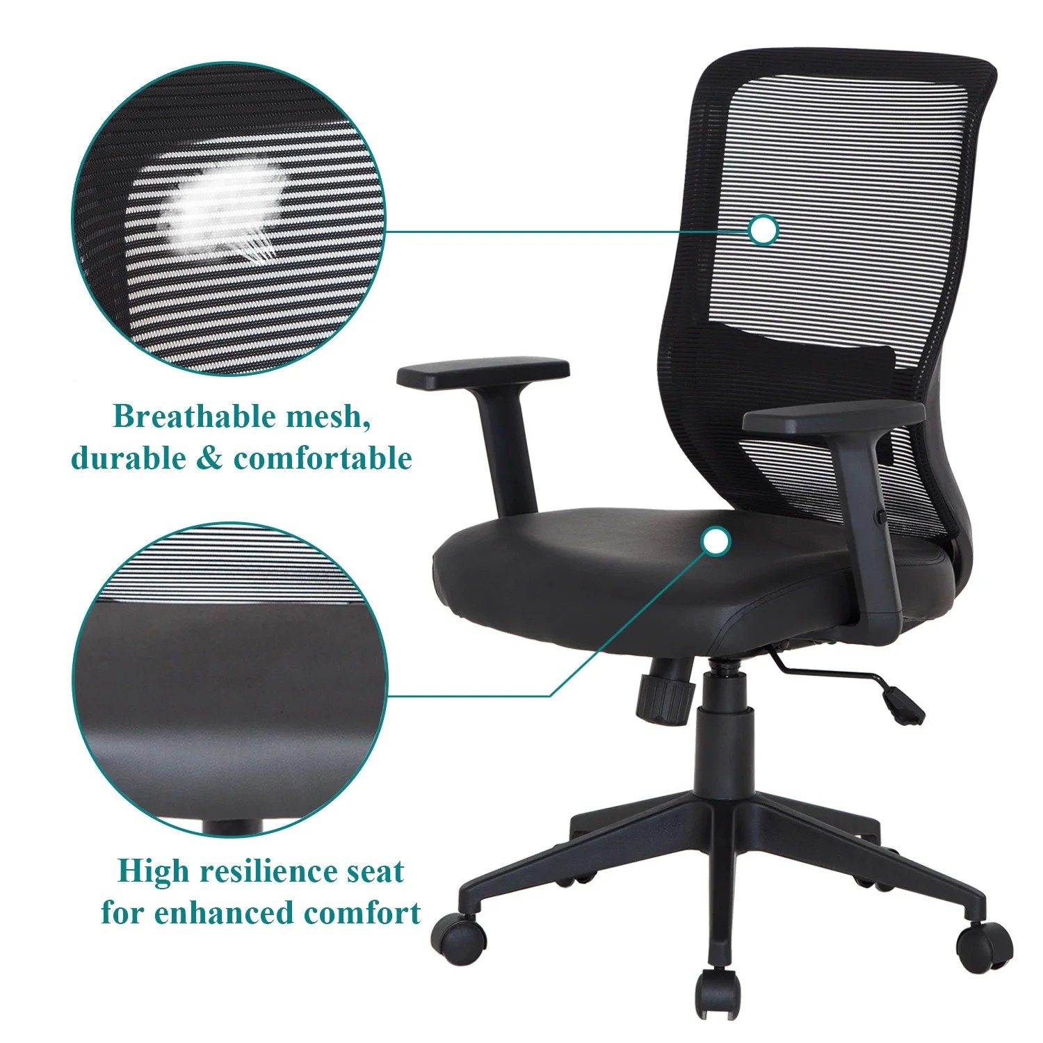 durable office chairs ebay wing chair covers shop pu cushion adjustable swivel mesh desk free shipping today overstock com 12605503