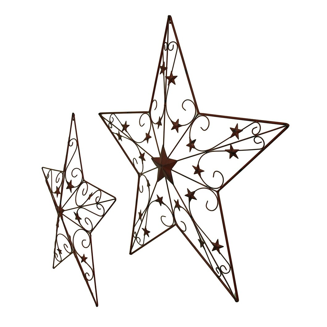 hight resolution of shop 2 piece cosmic scrolls rustic red decorative hanging metal barn star set 44 x 46 x 2 5 inches free shipping today overstock 16750584