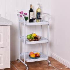 Kitchen Trolley Cart Remodeling Software Shop Costway 3 Tier Rolling Steel Island Storage Utility Service Dining White