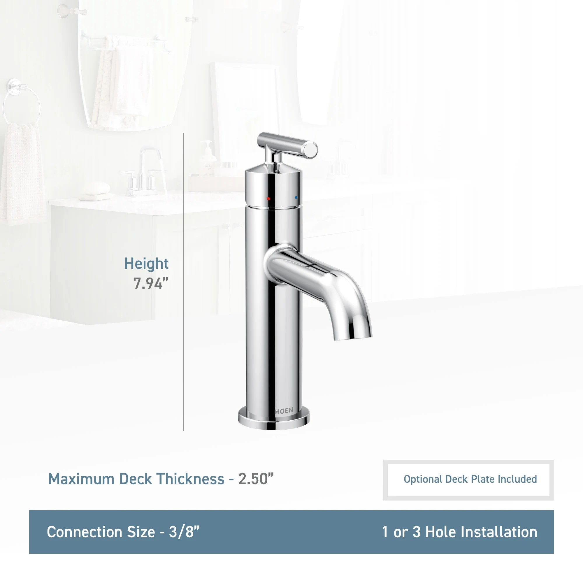 Bathroom Sink Faucets Moen 6145 Gibson 1 2 Gpm Single Hole Bathroom Sink Faucet With Pop Up Drain Assembly