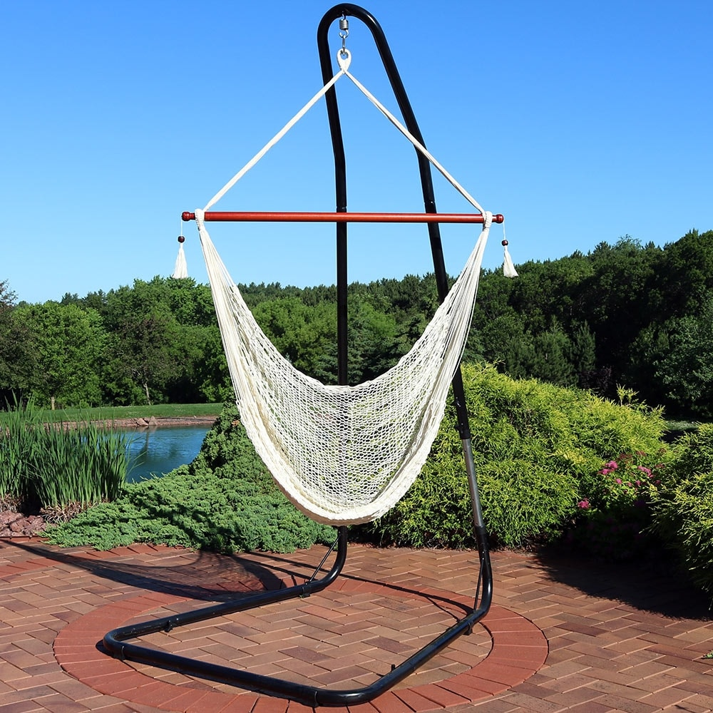 hanging chair rope wheelchair diagram shop sunnydaze cabo extra large hammock adjustable stand cream