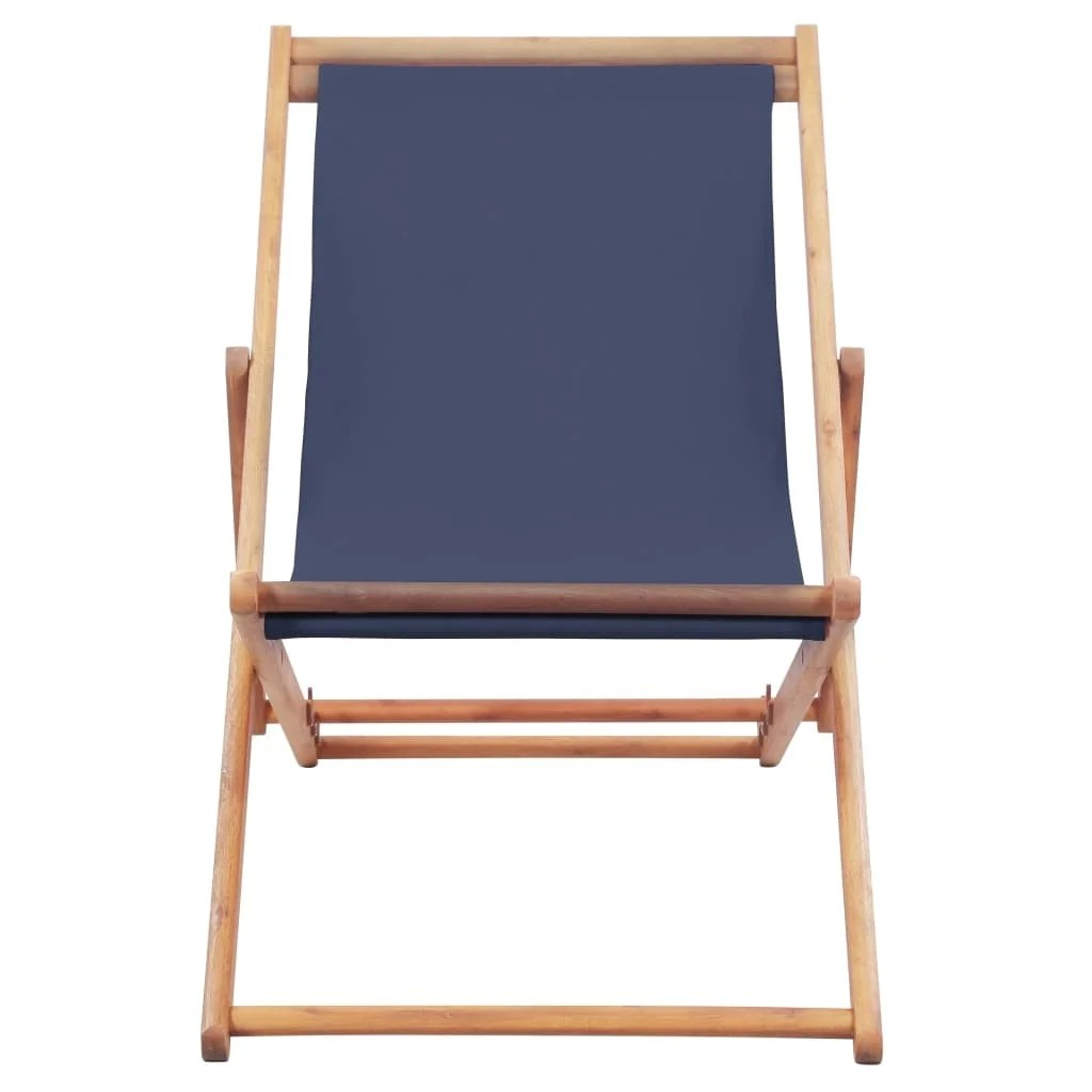 Folding Wood Beach Chair Vidaxl Folding Beach Chair Fabric And Wooden Frame Blue Lounger Seat Outdoor