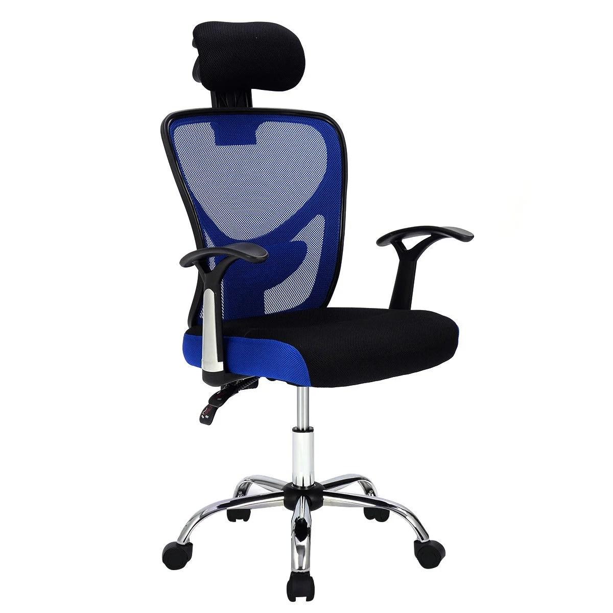 office chair posture rush seat dining chairs uk shop gymax swivel ergonomic mesh high back headrest adjustable blue