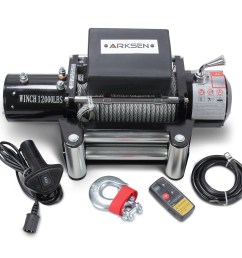 arksen 12 volt electric recovery winch with remote control towing for truck suv atv trailers 12000lbs capacity black [ 1300 x 1300 Pixel ]