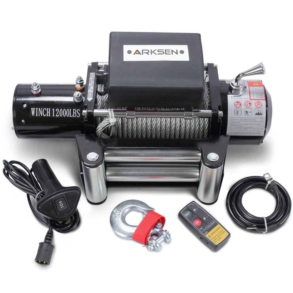 medium resolution of arksen 12 volt electric recovery winch with remote control towing for truck suv atv trailers 12000lbs capacity black