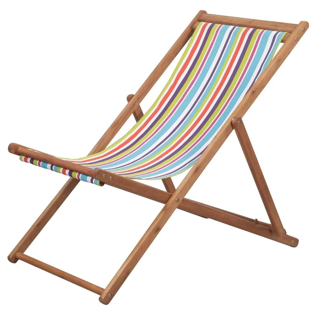 Folding Wood Beach Chair Vidaxl Folding Beach Chair Fabric And Wooden Frame Multicolor Lounger Seat