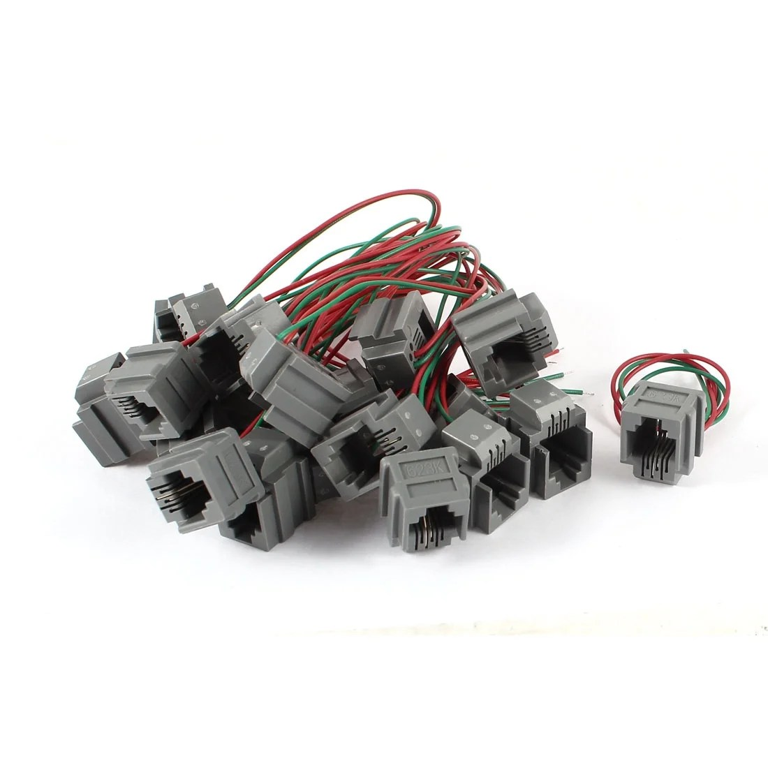 hight resolution of shop unique bargains 20 pcs 623k 6p2c rj11 socket telephone cable connector w 8 wire free shipping on orders over 45 overstock 18455889