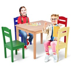 Kids Chair Set Hanging Wicker Egg Shop Costway 5 Piece Table Pine Wood Multicolor Children Play Room Furniture