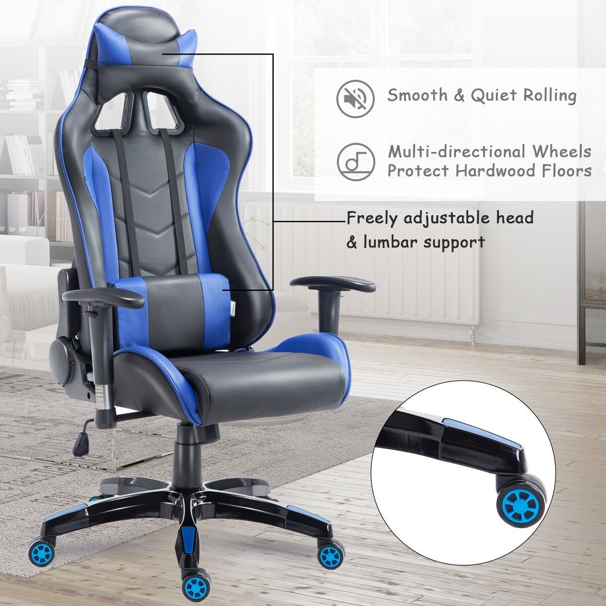 blue leather office chair bean bag filler kmart shop costway high back executive racing reclining gaming swivel pu