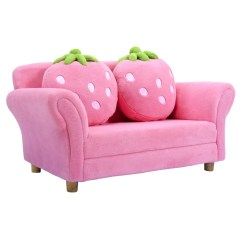 Pink Kids Chair Metal Chairs Shop Costway Sofa Strawberry Armrest Lounge Couch W 2 Pillow Children Toddler