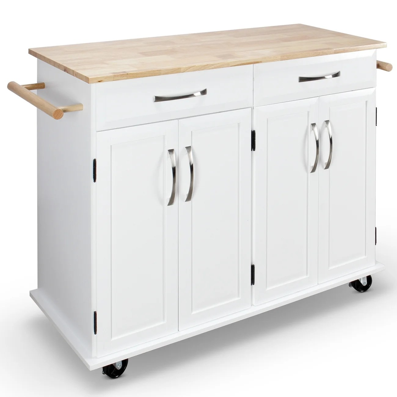 portable kitchen cart amazon tables shop belleze white wood and island free