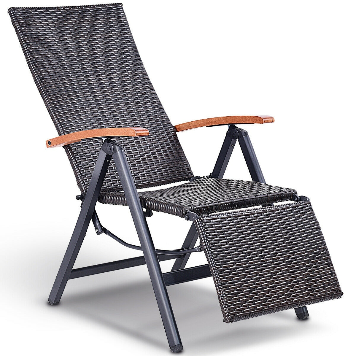 Patio Folding Chairs Costway Patio Folding Chair Lounger Recliner Chair Rattan Aluminum Garden Recliner Chair