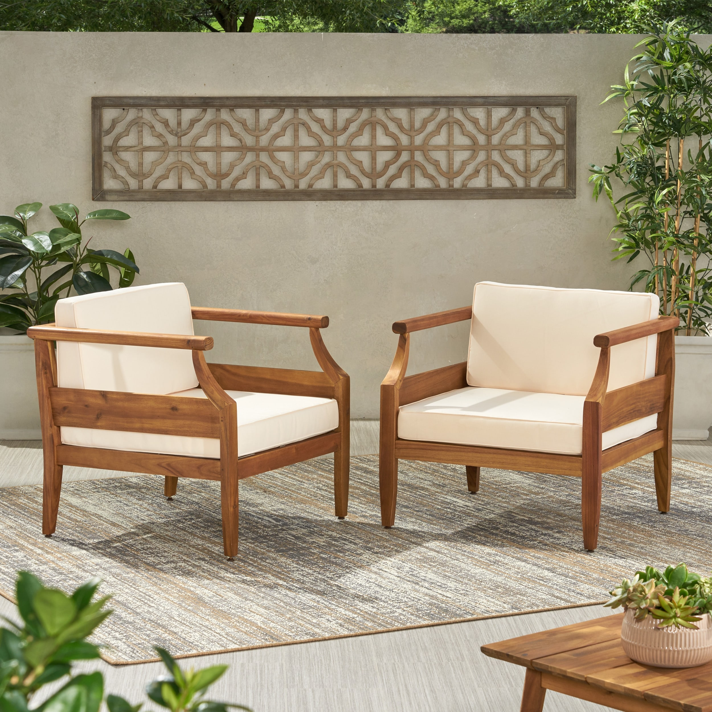 aston outdoor modern acacia cushioned club chairs set of 2 by christopher knight home
