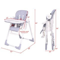 Height Adjustable High Chair Baby Outdoor Lounge Cushions Shop Costway Infant Toddler Feeding Booster Folding Recline Gray On Sale Free Shipping Today Overstock Com