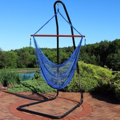 Hanging Chair Rope Snorlax Beanbag Shop Sunnydaze Cabo Extra Large Hammock Adjustable Stand Blue