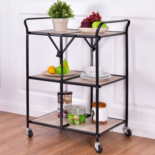 folding kitchen cart commercial refrigerator costway 3 tier trolley rolling serving dining storage shelves as pic shop on sale free shipping today overstock com 18298646