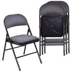 Folding Fabric Chairs Sciatica Office Chair Shop Costway Set Of 4 Upholstered Padded Seat Metal Frame Home As Pic