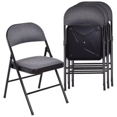 Folding Chair Fabric Nursery Rocking Shop Costway Set Of 4 Chairs Upholstered Padded Seat Metal Frame Home Office As Pic
